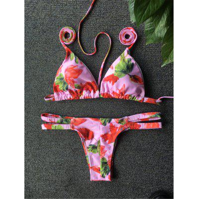Stylish Flower Print Halter Bikini Set For Women