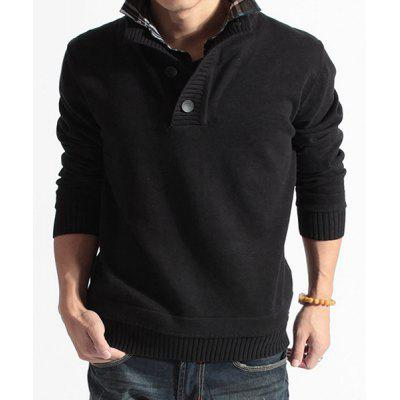 Faux Twinset Turn-down Collar Button Design Long Sleeves Sweater For Men