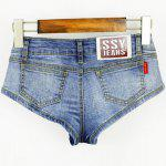 Buy Low Waist Letter Print Women's Short Denim Shorts M LIGHT BLUE