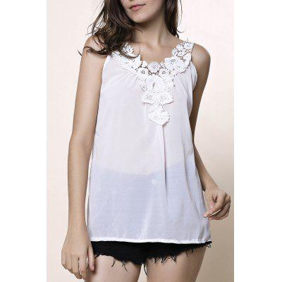 Stylish V-Neck Sleeveless Laciness Hollow Out Women's Tank Top