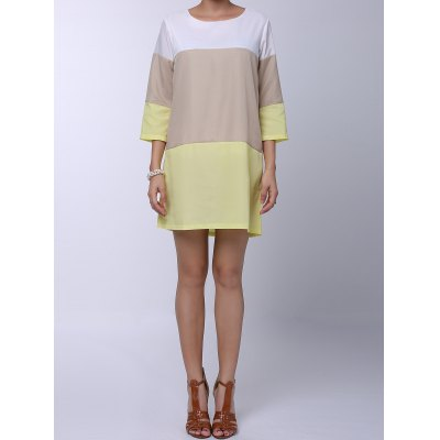 Round Neck 3/4 Sleeve Color Block Loose-Fitting Dress