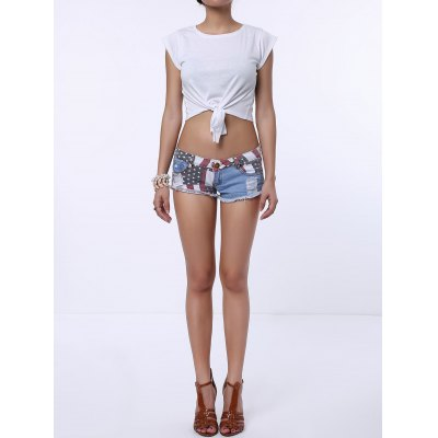 Low-Waisted Striped Star American Flag Denim Micro Shorts