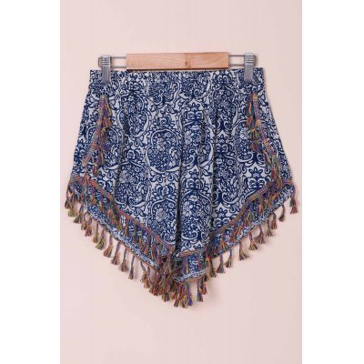 Ethnic Style Full Print Tassel Spliced Dolphin Flowy Shorts