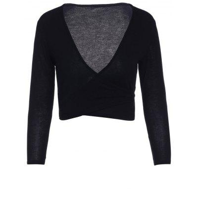 Sexy Plunging Neck Long Sleeve Solid Color Self Tie Women's Crop Top