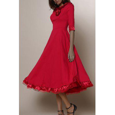 Buy RED Midi A Line Flounce Swing Evening Dress for $32.59 in GearBest store