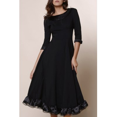 Buy BLACK Midi A Line Flounce Swing Evening Dress for $32.59 in GearBest store