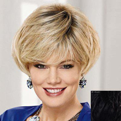 Graceful Side Bang Capless Fashion Short Natural Straight Human Hair Wig For Women