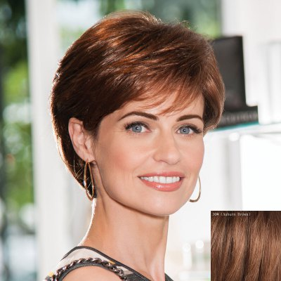 Elegant Side Bang Capless  Human Hair Short Straight Wig