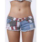 Low-Waisted Striped Star American Flag Denim Micro Shorts for sale