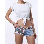 Low-Waisted Striped Star American Flag Denim Micro Shorts photo