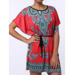 Ethnic Style Scoop Neck Print Color Block Short Sleeve T-Shirt For Women - RED