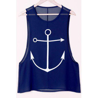 Stylish Round Collar Sleeveless Anchor Print Women's Tank Top