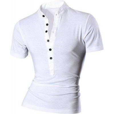 Buy WHITE Stand Collar Spliced Design Buttons Short Sleeve T-Shirt For Men for $12.47 in GearBest store