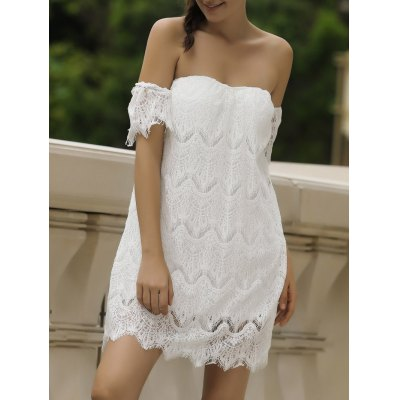 Off Shoulder Lace Short Cocktail Dress
