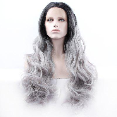 Buy BLACK AND GREY Fluffy Long Synthetic Women's Wavy Lace Front Wig for $59.81 in GearBest store