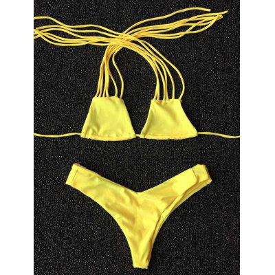 Novelty Strappy Solid Color   Bikini Set For Women
