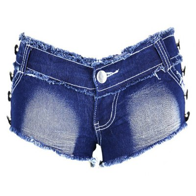 Chic Low Waist Butterfly Pattern Bottoned Denim Jeans Shorts For Women