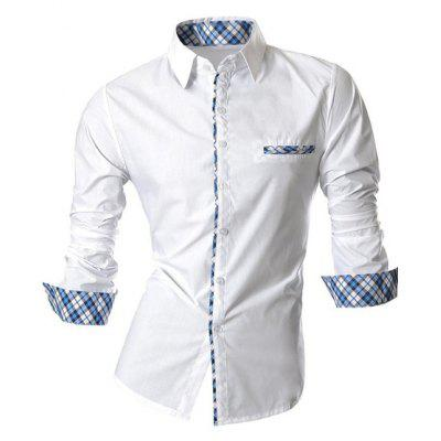 Hot Sale Single Breasted Turn Down Collar Splicing Plaid Shirt For Men