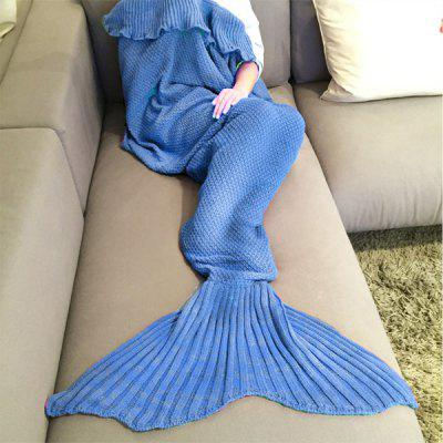 Buy ROYAL BLUE Fashion Comfortable Falbala Decor Knitted Mermaid Design Throw Blanket for $12.50 in GearBest store