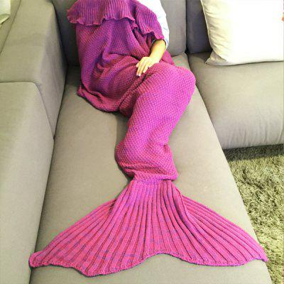 Buy ROSE Fashion Comfortable Falbala Decor Knitted Mermaid Design Throw Blanket for $23.05 in GearBest store
