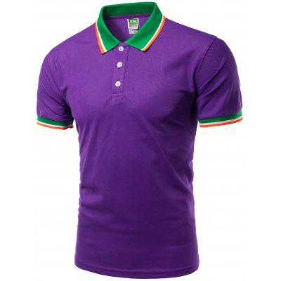 Buy PURPLE Color Block Splicing Design Turn-Down Collar Short Sleeve Polo T-Shirt For Men for $11.87 in GearBest store