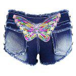 Chic Low Waist Butterfly Pattern Bottoned Denim Jeans Shorts For Women deal