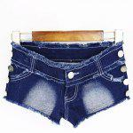 Chic Low Waist Butterfly Pattern Bottoned Denim Jeans Shorts For Women for sale