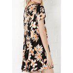 Trendy Round Collar Short Sleeve Flower Print Dress For Women deal
