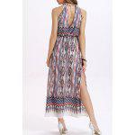 Fashion Round Neck High Waisted Printed Side Slit Dress For Women - COLORMIX