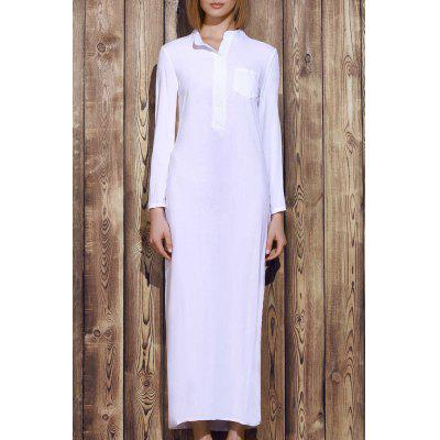 Stylish Plunging Neck Solid Color Long Sleeve Maxi Dress For Women