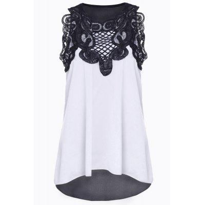 Stylish Round Neck Sleeveless Spliced Asymmetrical Women's T-Shirt