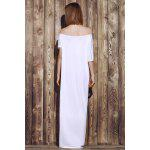 Sexy Off-The-Shoulder Pure Color Asymmetrical Women's Maxi Dress - BEYAZ