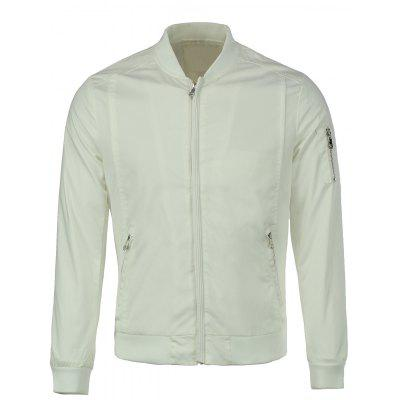 Multi-Zipper Solid Color Stand Collar Long Sleeves Slimming Jacket For Men