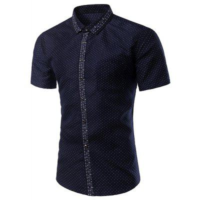 Casual Printing Turn Down Collar Short Sleeves Shirt For Men