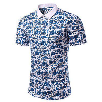 Casual Flower Printing Turn Down Collar Short Sleeves Shirt For Men