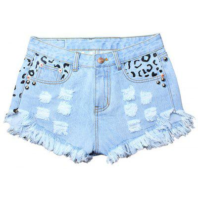 Street Style Hole Design Rivet Embellish Women's Fringed Denim Shorts