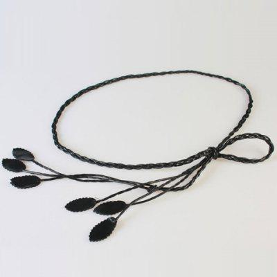 Chic Leaves Pendant Candy Color Weaving PU Waist Rope For Women