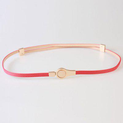 Chic Round Hasp Adjustable PU Slender Belt For Women