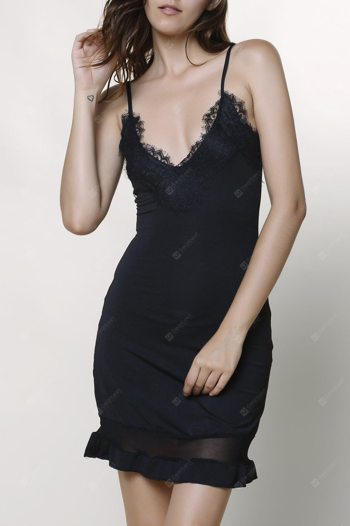 Voile Panel Slip Bodycon Night Out Dress