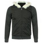 Buy Casual Style Long Sleeves Hooded Personality Fur Embellished Zipper Design Slimming Thicken Men's Cotton Blend Hoodies 2XL BLACK