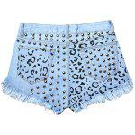 cheap Street Style Hole Design Rivet Embellish Women's Fringed Denim Shorts