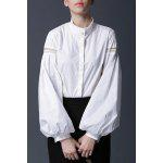 Lantern Sleeve Solid Color Blouse - WHITE
