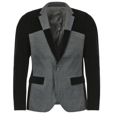 Fashion Slimming Lapel Color Block Splicing Long Sleeve Woolen Blend Blazer For Men