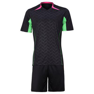 Color Block Sports Style Men's Football Training Jersey Set (T-Shirt+Shorts)