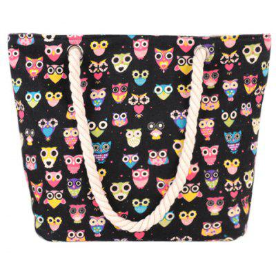 Cute Owl Print and Canvas Design Beach Shoulder Bag