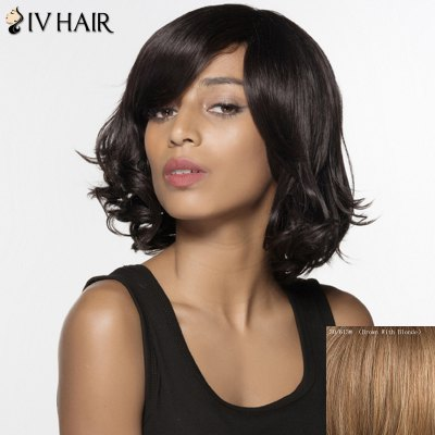 Buy BROWN WITH BLONDE Stunning Side Bang Human Hair Capless Fluffy Wavy Short Siv Hair Wig For Women for $99.23 in GearBest store