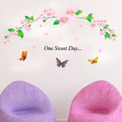 Buy COLORMIX Chic Flower Rattan and Butterflies Pattern Wall Sticker For Bedroom Livingroom Decoration for $5.84 in GearBest store