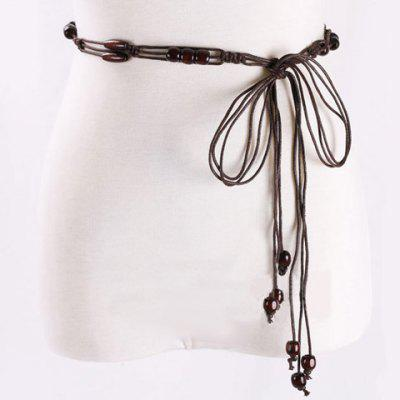 Chic Multilayer Wooden Beads Decorated Knitted Waist Belt For Women