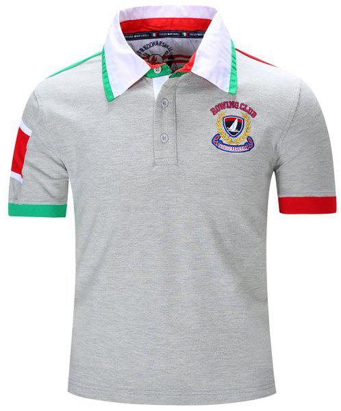 Turn-Down Collar Letters Badge Embroidered Color Block Spliced Short Sleeve Polo T-Shirt For Men