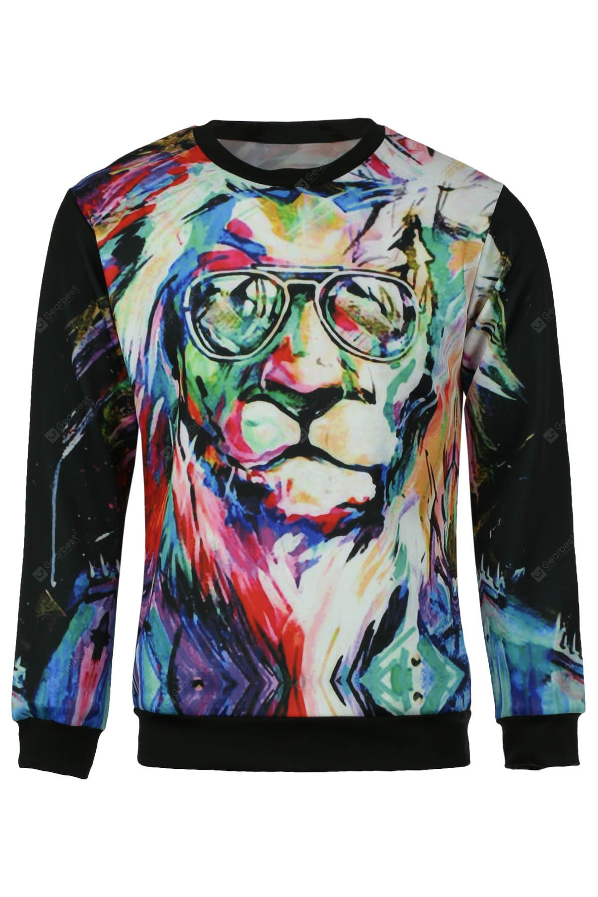 Round Neck 3D Lion Oil Painting Print Long Sleeve Slimming Men's Sweatshirt